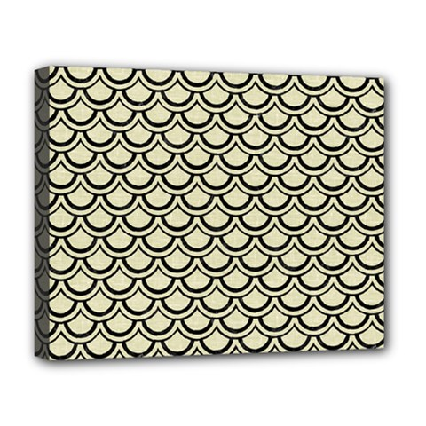 Scales2 Black Marble & Beige Linen (r) Deluxe Canvas 20  X 16  (stretched) by trendistuff