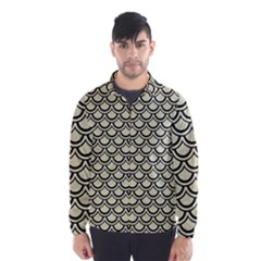 Scales2 Black Marble & Beige Linen (r) Wind Breaker (men) by trendistuff