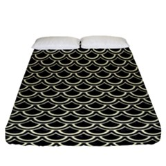 Scales2 Black Marble & Beige Linen Fitted Sheet (california King Size) by trendistuff