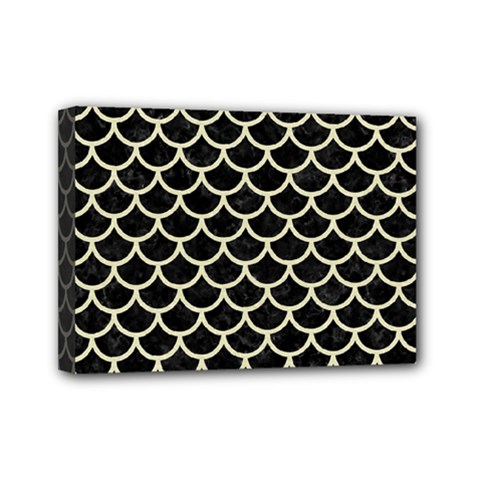 Scales1 Black Marble & Beige Linen Mini Canvas 7  X 5  (stretched) by trendistuff