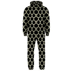Scales1 Black Marble & Beige Linen Hooded Jumpsuit (men) by trendistuff