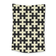 Puzzle1 Black Marble & Beige Linen Small Tapestry