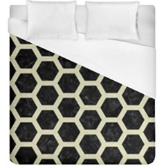 Hexagon2 Black Marble & Beige Linen Duvet Cover (king Size) by trendistuff