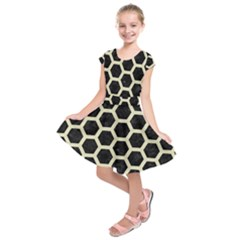 Hexagon2 Black Marble & Beige Linen Kids  Short Sleeve Dress by trendistuff