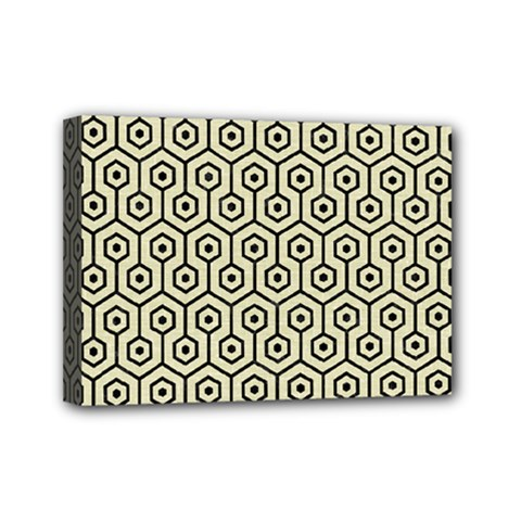 Hexagon1 Black Marble & Beige Linen (r) Mini Canvas 7  X 5  (stretched) by trendistuff