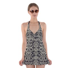 Damask2 Black Marble & Beige Linen Halter Swimsuit Dress by trendistuff