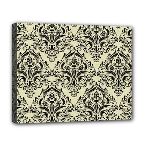 Damask1 Black Marble & Beige Linen (r) Deluxe Canvas 20  X 16  (stretched) by trendistuff
