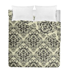 Damask1 Black Marble & Beige Linen (r) Duvet Cover Double Side (full/ Double Size) by trendistuff