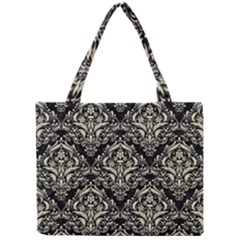 Damask1 Black Marble & Beige Linen Mini Tote Bag by trendistuff