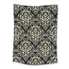 Damask1 Black Marble & Beige Linen Medium Tapestry