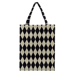Diamond1 Black Marble & Beige Linen Classic Tote Bag by trendistuff