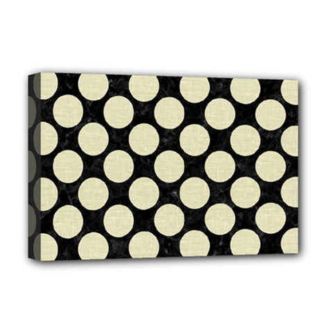 Circles2 Black Marble & Beige Linen Deluxe Canvas 18  X 12  (stretched) by trendistuff