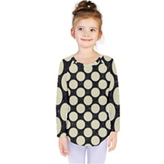 Circles2 Black Marble & Beige Linen Kids  Long Sleeve Tee