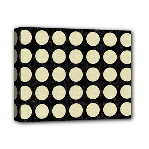 Circles1 Black Marble & Beige Linen Deluxe Canvas 14  X 11  (stretched) by trendistuff