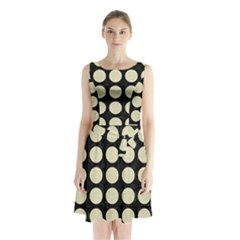 Circles1 Black Marble & Beige Linen Sleeveless Waist Tie Chiffon Dress