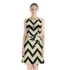 Chevron9 Black Marble & Beige Linen (r) Sleeveless Waist Tie Chiffon Dress