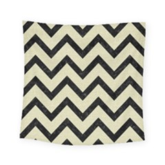 Chevron9 Black Marble & Beige Linen (r) Square Tapestry (small)