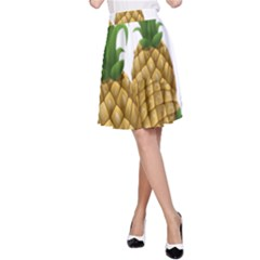 Pineapples Tropical Fruits Foods A-line Skirt by Nexatart