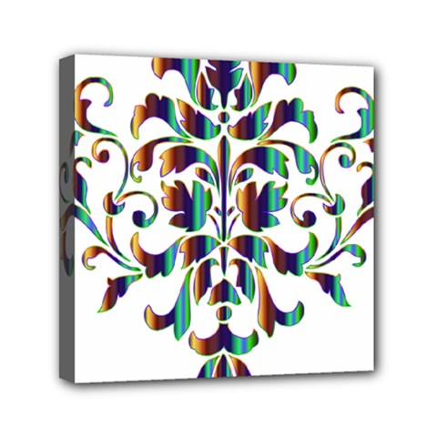 Damask Decorative Ornamental Mini Canvas 6  X 6