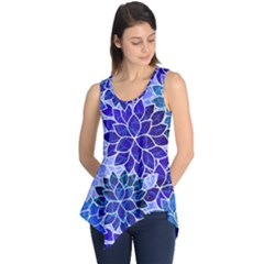 Azurite Blue Flowers Sleeveless Tunic by KirstenStar