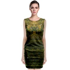 Green Vermont Leaves Sleeveless Velvet Midi Dress