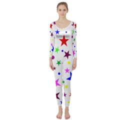 Stars Pattern Background Colorful Red Blue Pink Long Sleeve Catsuit by Nexatart