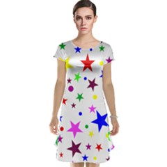 Stars Pattern Background Colorful Red Blue Pink Cap Sleeve Nightdress by Nexatart