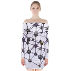 Grid Construction Structure Metal Long Sleeve Off Shoulder Dress by Nexatart