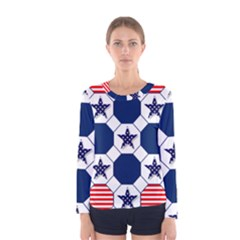 Patriotic Symbolic Red White Blue Women s Long Sleeve Tee by Nexatart