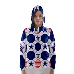 Patriotic Symbolic Red White Blue Hooded Wind Breaker (women)