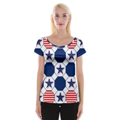 Patriotic Symbolic Red White Blue Women s Cap Sleeve Top by Nexatart