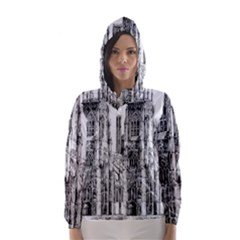 York Cathedral Vector Clipart Hooded Wind Breaker (women)