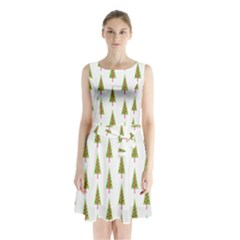 Christmas Tree Sleeveless Chiffon Waist Tie Dress