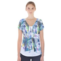 Background Color Circle Pattern Short Sleeve Front Detail Top