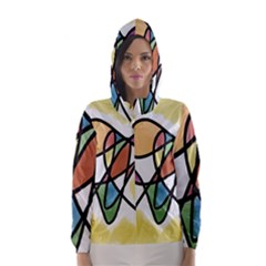 Art Abstract Exhibition Colours Hooded Wind Breaker (women)