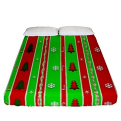 Christmas Paper Pattern Fitted Sheet (queen Size) by Nexatart