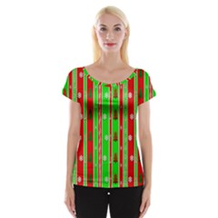 Christmas Paper Pattern Women s Cap Sleeve Top by Nexatart