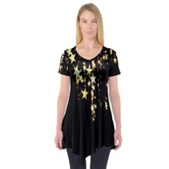 Christmas Star Advent Background Short Sleeve Tunic  by Nexatart