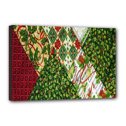 Christmas Quilt Background Canvas 18  X 12  by Nexatart
