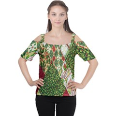 Christmas Quilt Background Women s Cutout Shoulder Tee