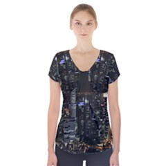 City At Night Lights Skyline Short Sleeve Front Detail Top by Nexatart
