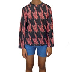 Dogstooth Pattern Closeup Kids  Long Sleeve Swimwear by Nexatart
