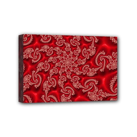 Fractal Art Elegant Red Mini Canvas 6  X 4  by Nexatart