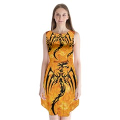 Dragon Fire Monster Creature Sleeveless Chiffon Dress   by Nexatart