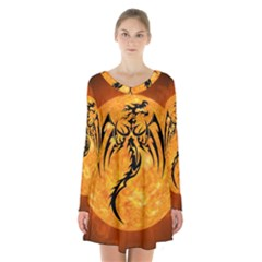 Dragon Fire Monster Creature Long Sleeve Velvet V-neck Dress