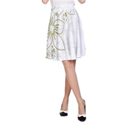 Flowers Background Leaf Leaves A-line Skirt by Nexatart