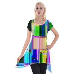 Glitch Art Abstract Short Sleeve Side Drop Tunic by Nexatart