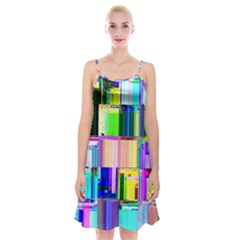 Glitch Art Abstract Spaghetti Strap Velvet Dress
