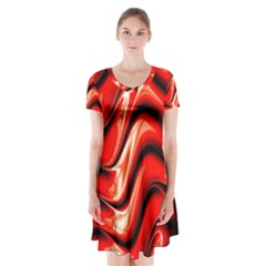 Fractal Mathematics Abstract Short Sleeve V Neck Flare Dress by Nexatart