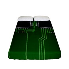 Green Circuit Board Pattern Fitted Sheet (full/ Double Size) by Nexatart